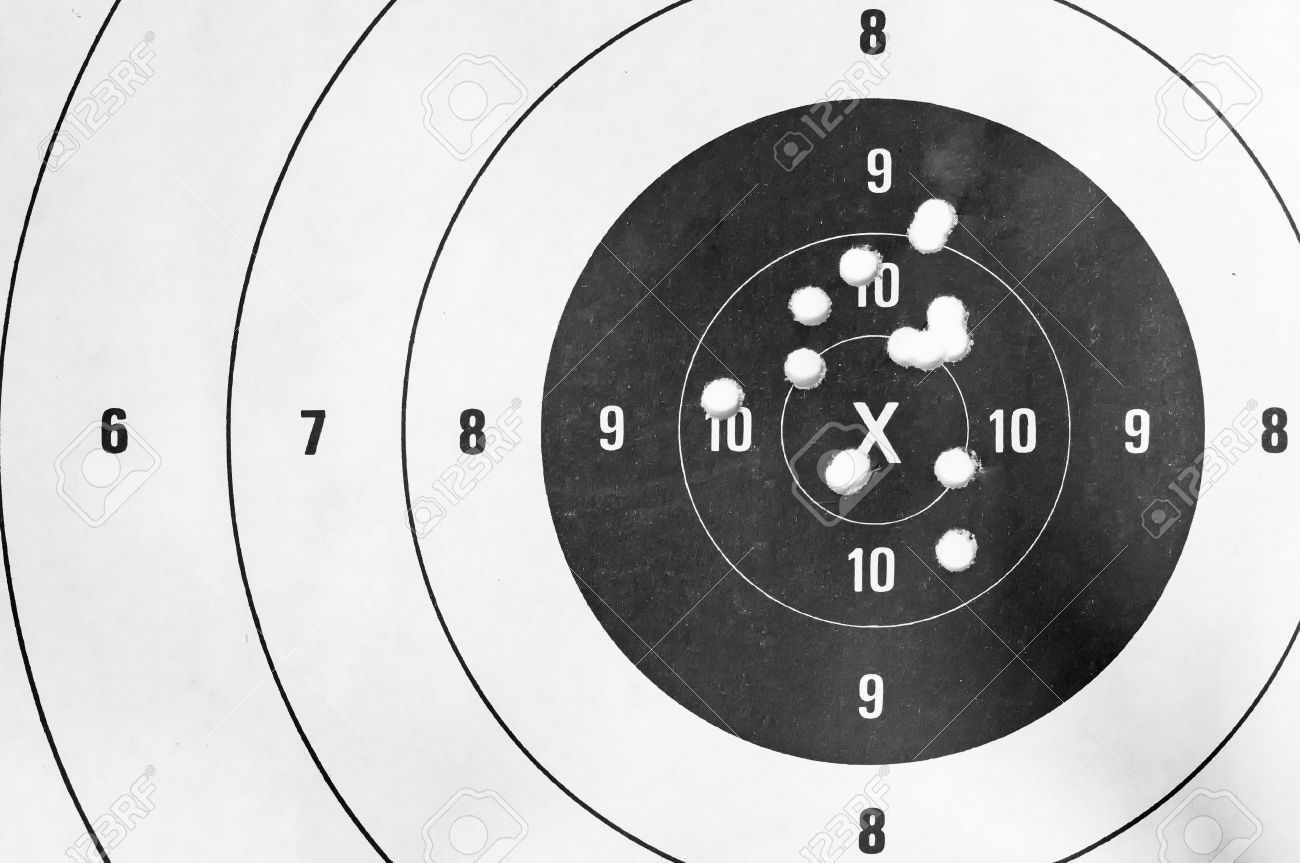 Black and white, Close up of a shooting target and bullseye with