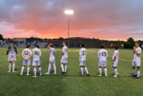 St. Edward Soccer on a picturesque evening post-victory. Photo courtesy of Dakota Jonke