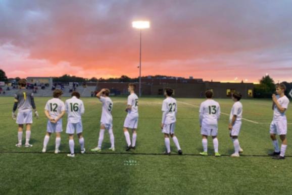 St. Edward Soccer on a picturesque evening post-victory. Photo courtesy of Dakota Jonke
